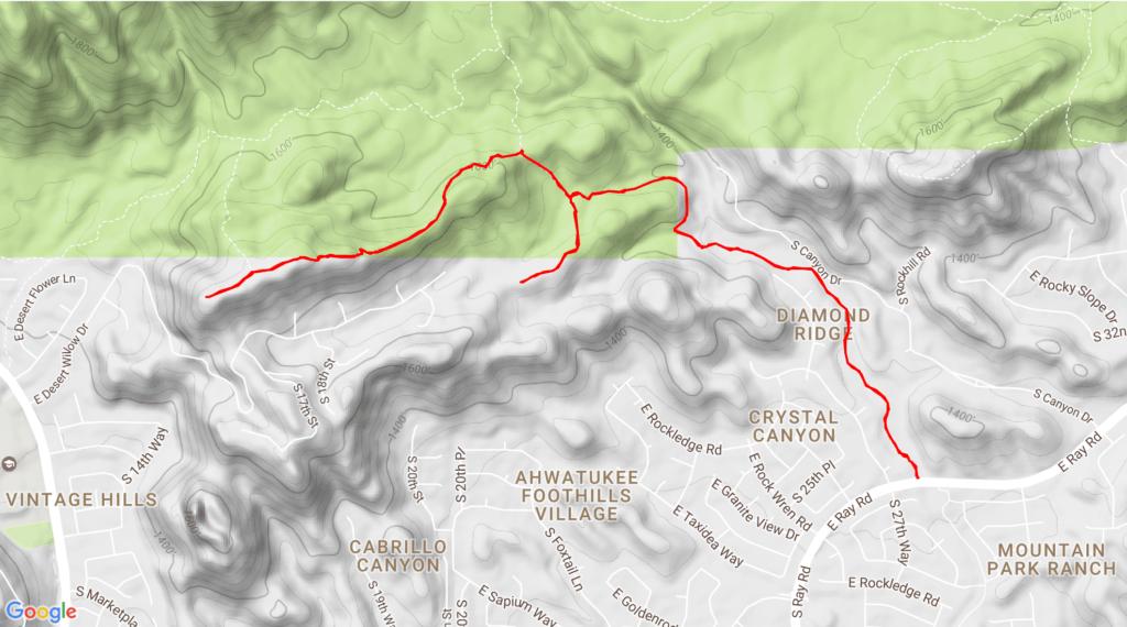 Phoenix South Mountain Helipad GPS route